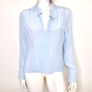 Willi Smith   Pale blue silk long sleeve blouse